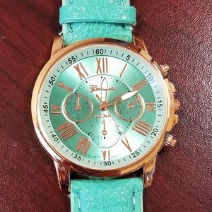 Accessories - Teal Roman Numeral Watch